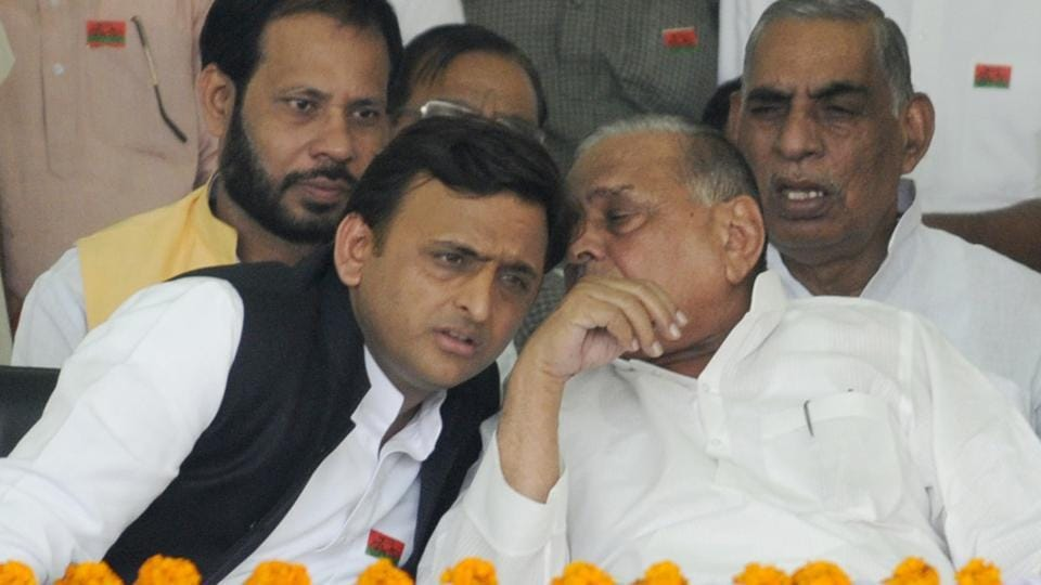 Seven candidates in the Uttar Pradesh polls had direct link with outgoing chief minister Akhilesh Yadav (left) or other former chief ministers.