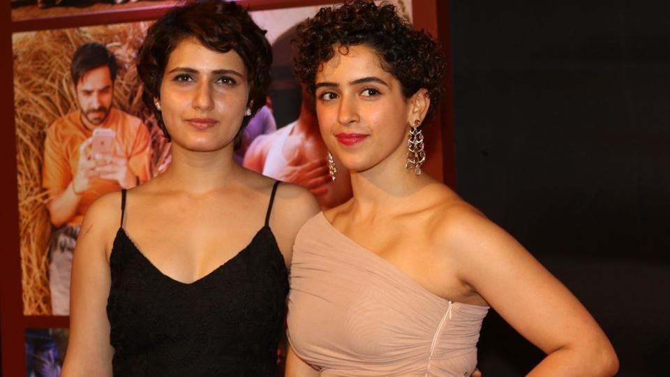 Actors Fatima Sana Shaikh and Sanya Malhotra during the success party of film Dangal in Mumbai on Feb 4.