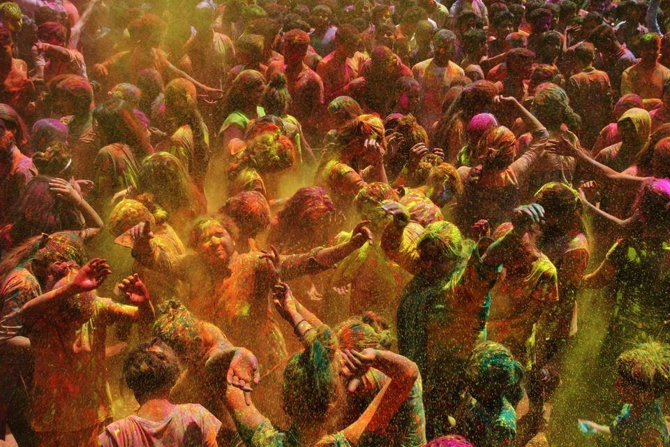 These revellers show how eco-friendly Holi celebration can be fun too. (Praful Gangurde)