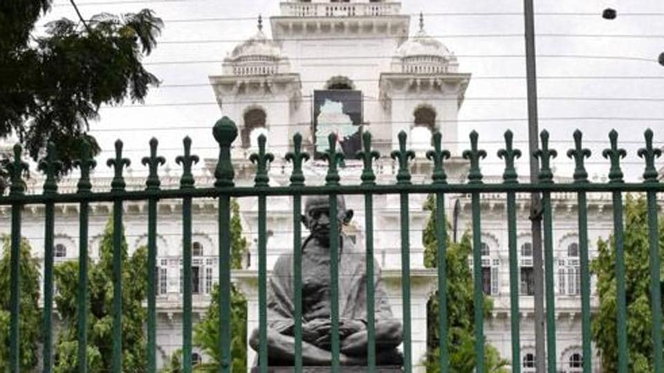 The Assembly building in Vijayawada. Andhra MP Bhuma Nagi passed away on Sunday, in whose respect the government has called off the budget session scheduled on Monday.
