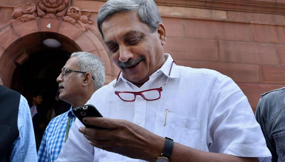 Manohar Parrikar at the Parliament house during the Budget session of Parliament. The defence minister has resigned from his post as he will take over the chief minister's job in Goa.
