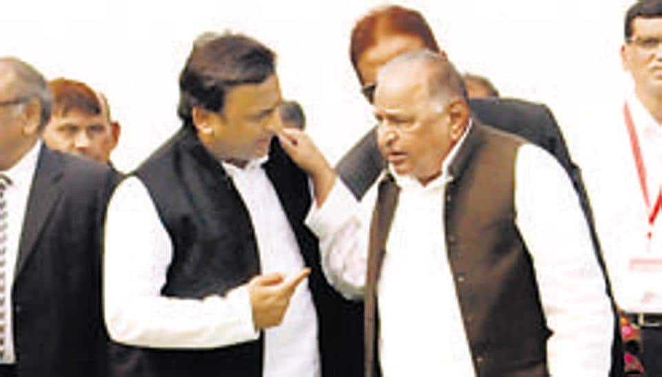File photo of Akhilesh Yadav and Mulayam Singh Yadav at the start of trial run of Lucknow metro in Lucknow India in December 2016.