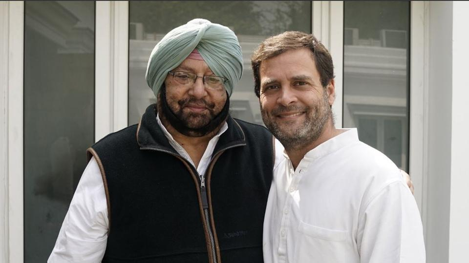 Official Twitter account of Rahul Gandhi (@OfficeOfRG) posted this photo with the message: Met @capt_amarinder singhji earlier today. I'm confident that Punjab will once again rise to its true potential under a Congress government.