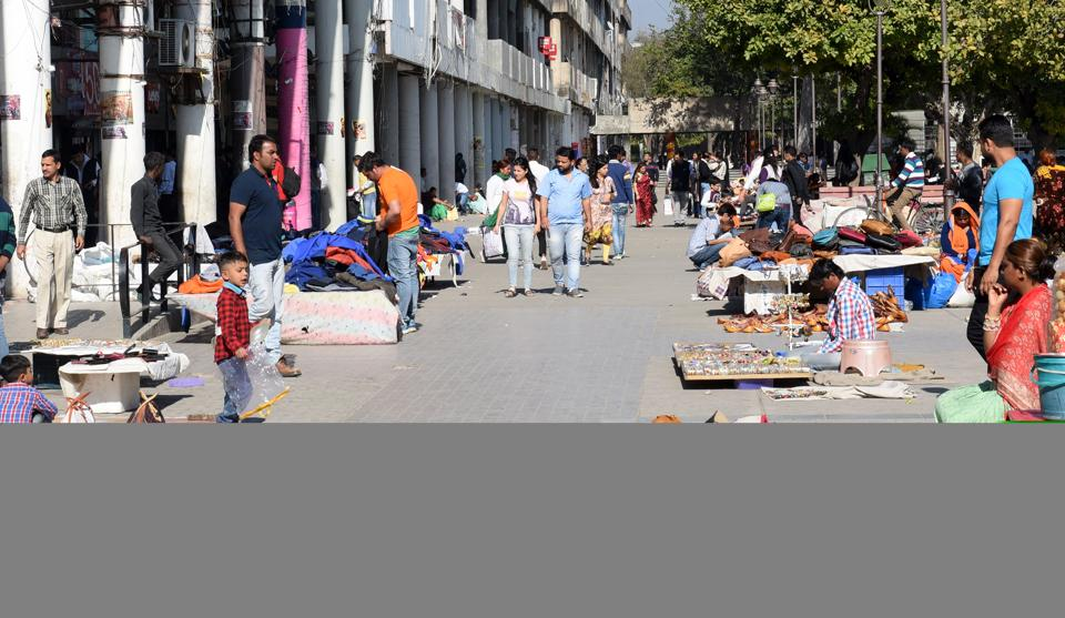 Vendors at the Sec-17 plaza in Chandigarh. More than 200  vendors sell their wares at the Plaza on weekends.