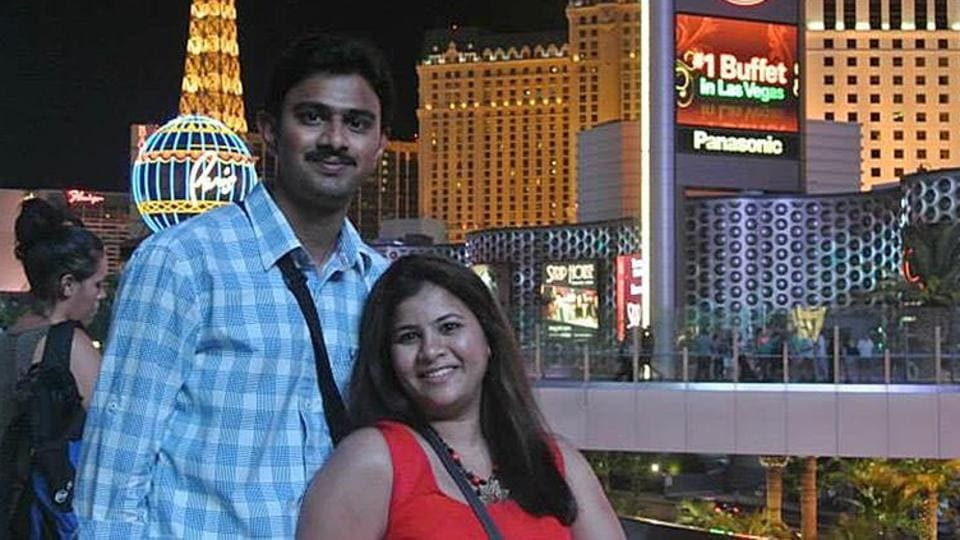 Indian techie Srinivas Kuchibhotla with wife Sunayana Dumala in Las Vegas. Kuchibhotla was shot dead last month by a former US navy veteran in Kansas who told him to to 'get out of my country'.