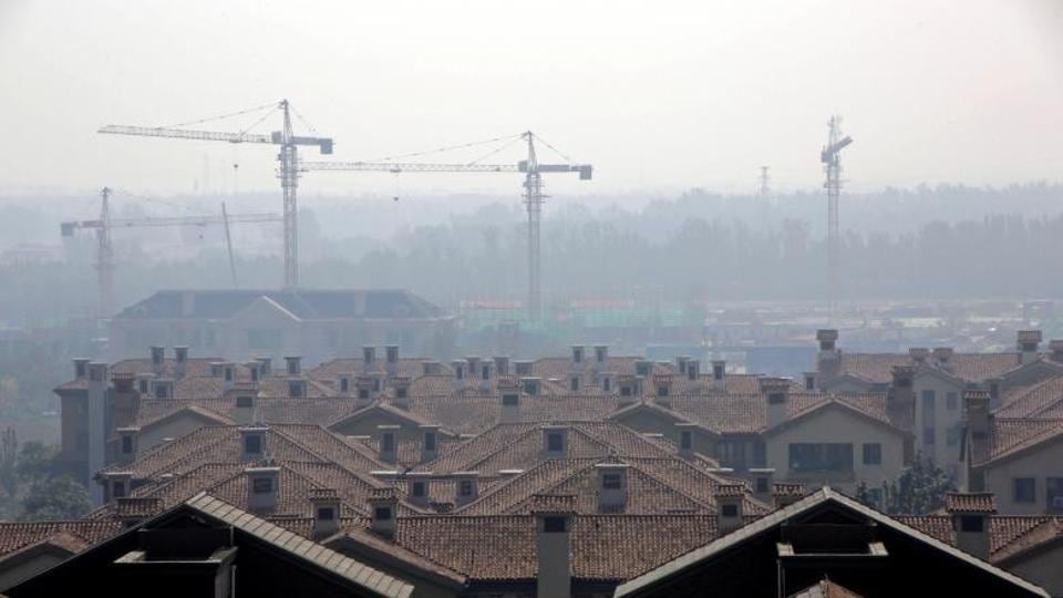 Apartment blocks are pictured in Wuqing District of Tianjin, China