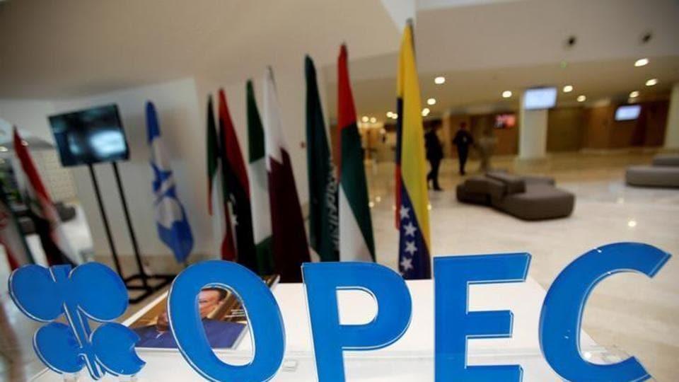 OPEC logo is pictured ahead of an informal meeting between members