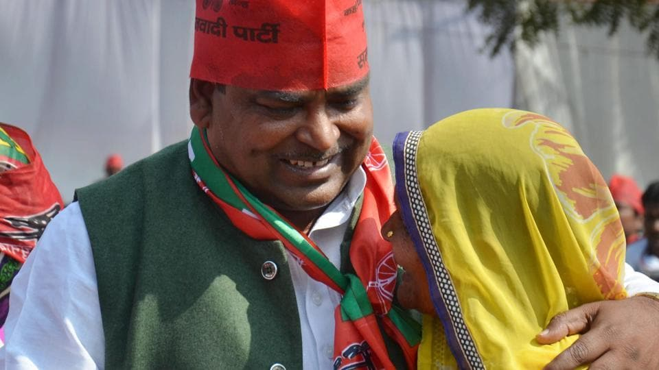 Gayatri Prasad Prajapati  was the SP candidate from Amethi in the Uttar Pradesh assembly elections. Here, he can be seen greeting a supporter during an election rally in Amethi on Feb 20, 2017.