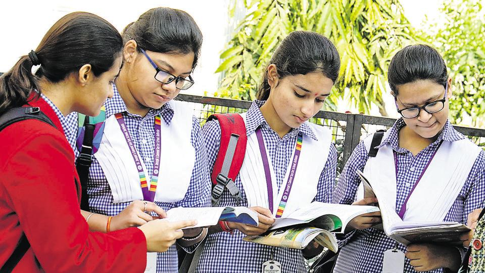 Students at the exam centre before appearing for the CBSE Class 12 exams, Bathinda. (Representative Photo).