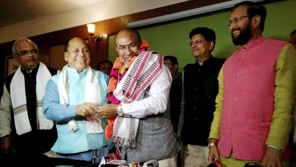 Nongthombam Biren Singh is greeted after he was elected the BJP legislature party leader in Imphal on Monday.