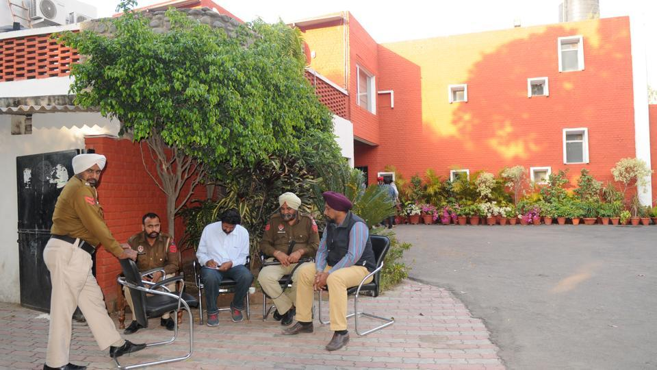 Police at the residence of former Punjab minister Parminder Singh Dhindsa in Sector 2, Chandigarh, on Sunday.