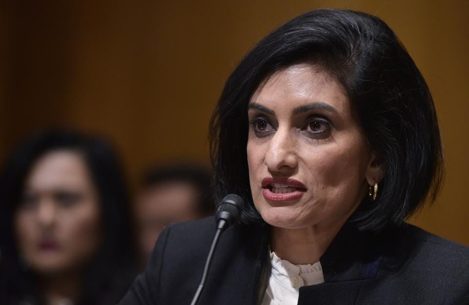 Seema Verma testifies before the Senate Finance Committee on her nomination to be the administrator of the Centers for Medicare and Medicaid Services, in the Dirksen Senate Office Building in Washington.