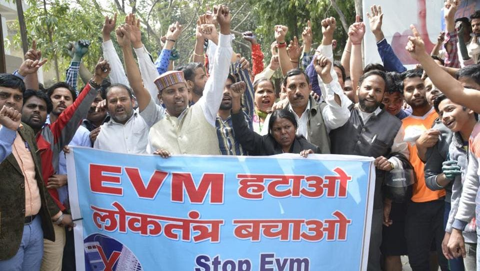 The protesters alleged that there were several irregularities in EVMs that led to the Bharatiya Janata Party (BJP) gaining the majority of seats in the UP assembly elections.