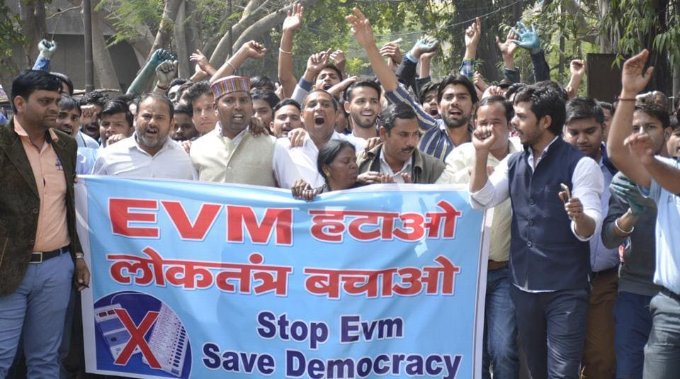 People take out a protest march in Ghaziabad demanding an inquiry into EVM machines that were used in the UP assembly elections, on March 14, 2017.