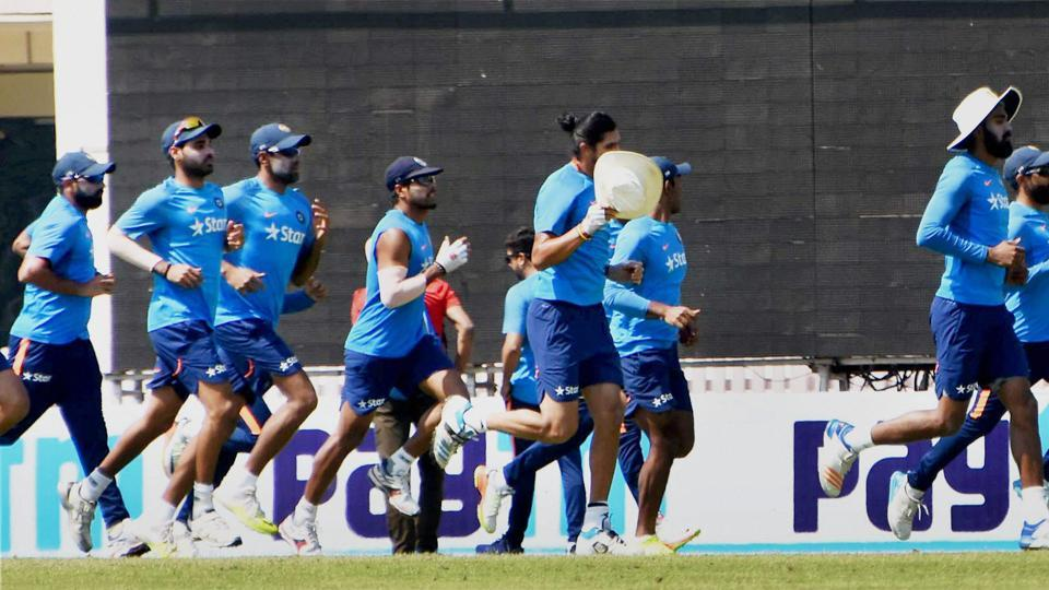Indian players warm-up as they prepare to take on Australia in the third Test in Ranchi. (PTI)