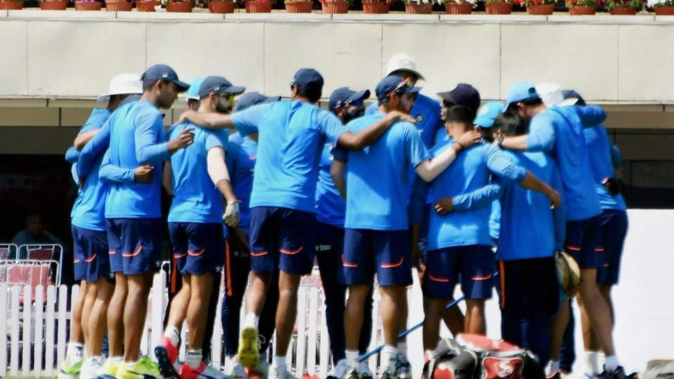 Indian team in the huddle as they prepare to warm-up. (PTI)