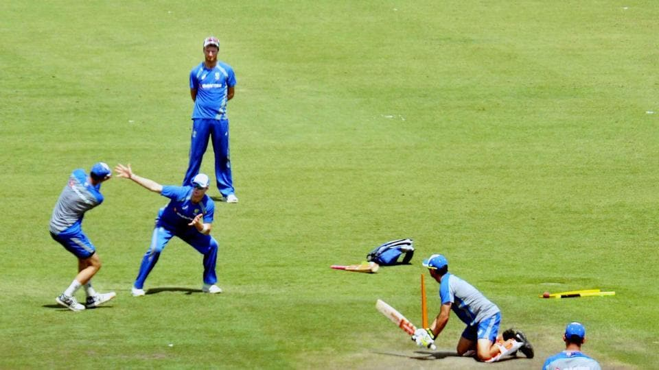 Australia's players warm-up as they aim to bounce back after their loss in Bangalore. (PTI)