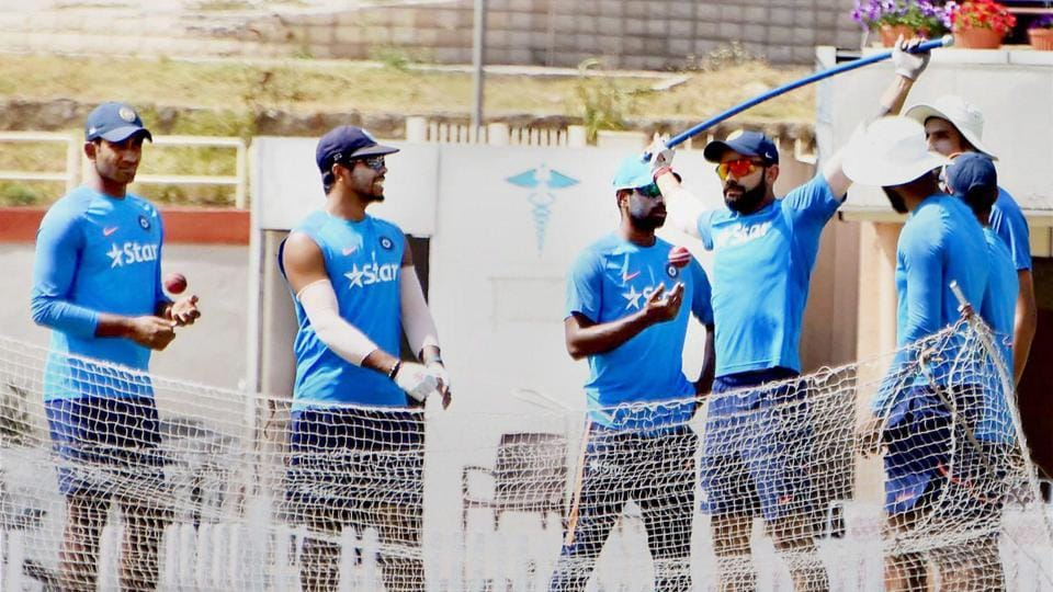 Ranchi: Indian cricketers during a practice session before the third test match against Australia at the JSCA stadium, in Ranchi on Tuesday.  (PTI)