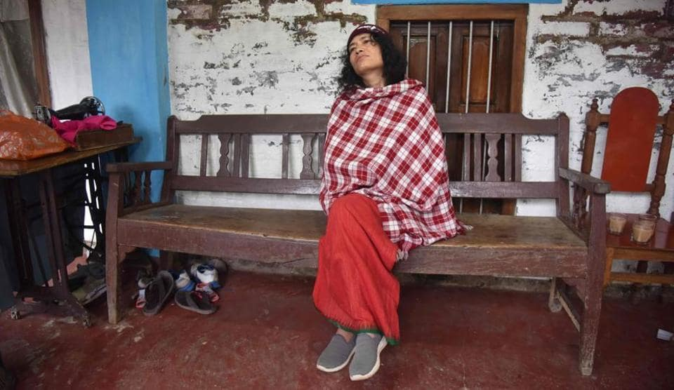 Right activist Irom Sharmila after losing her battle against three-time Manipur CM Ibobi Singh in the assembly election, in Imphal on Saturday.
