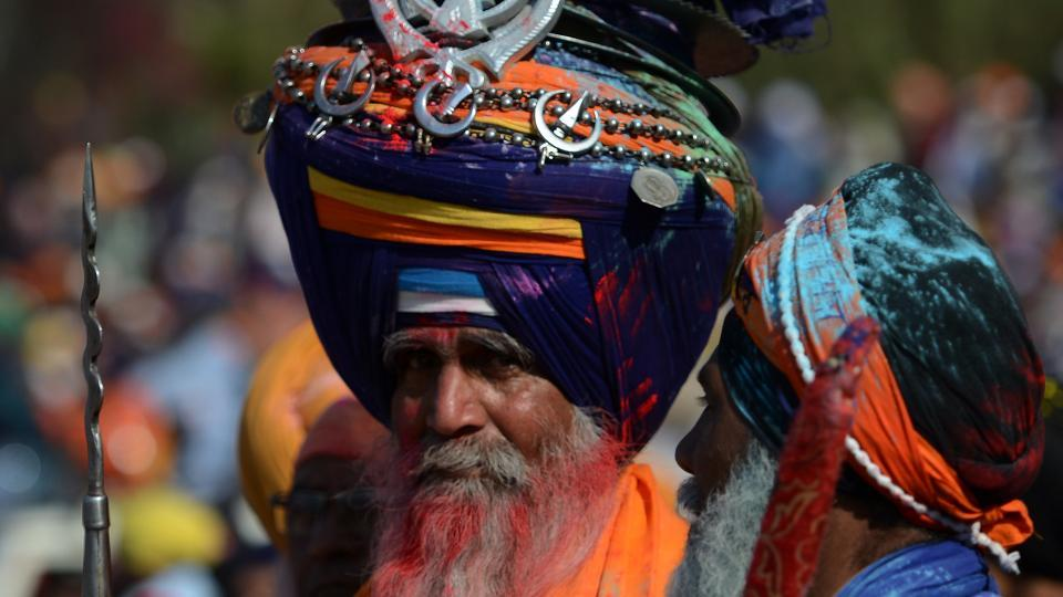 A Nihang's turban is lined with steel rings, traditionally as protection from enemy weapons.  (AFP)