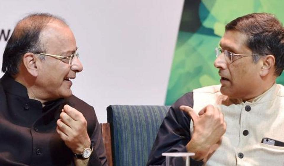 File photo of Finance Minister Arun Jaitley with Chief Economic Adviser Arvind Subramanian.