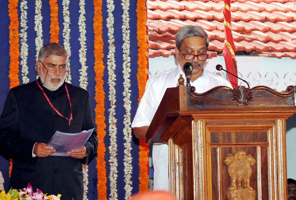 Former defence Manohar Parrikar takes oath as the new chief minister of Goa on Tuesday.