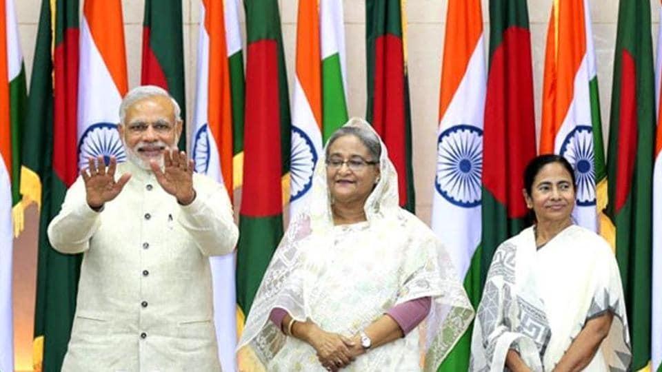 Prime Minister Narendra Modi along with his Bangladesh counterpart Sheikh Hasina and West Bengal chief minister Mamata Banerjee during Modi's visit to Bangladesh in 2015.