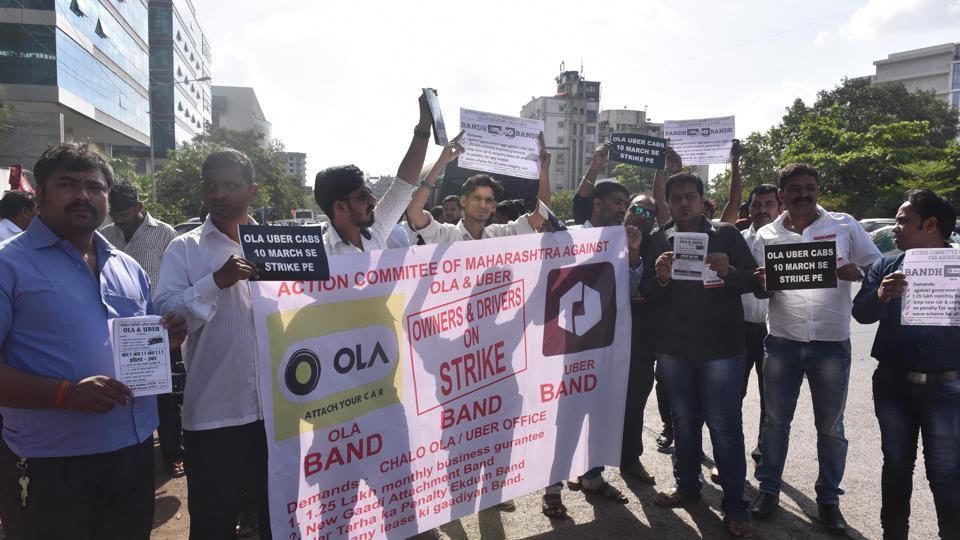 Ola and Uber drivers protest in Andheri on March 10.