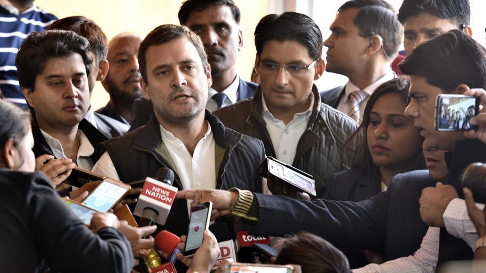 File photo of Congress Vice-President Rahul Gandhi addressing  the media at Parliament House.