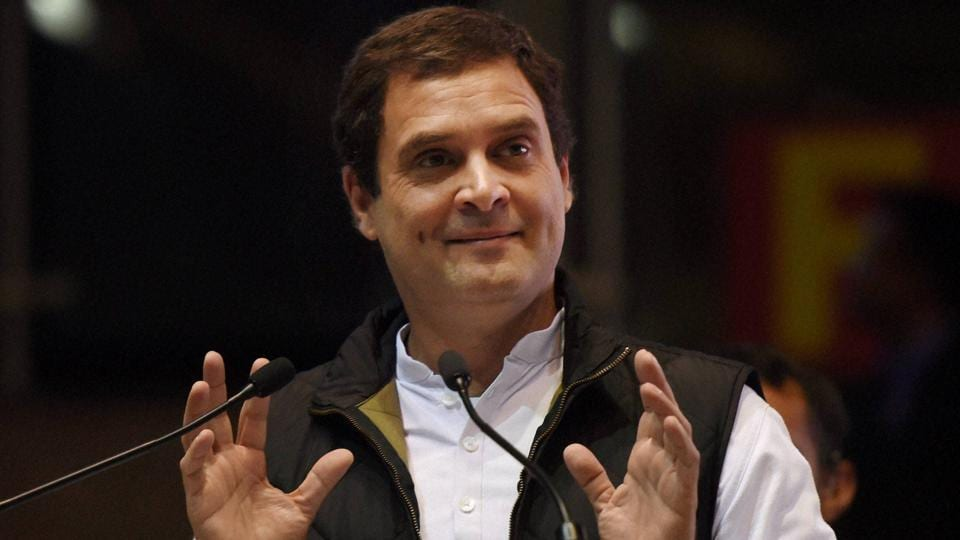 Congress vice-president Rahul Gandhi addresses a party event in New Delhi on Wednesday. Gandhi said democracy was being undermined in Manipur and Goa by the BJP.