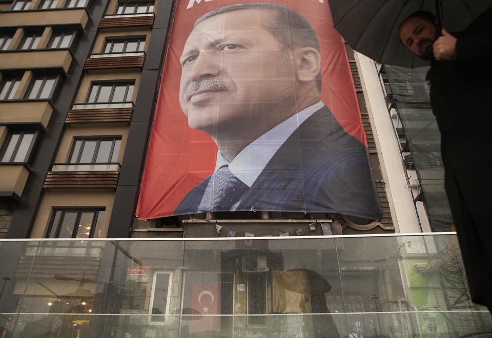 """A poster of Turkish President Recep Tayyip Erdogan in central Istanbul's Taksim Square. Erdogan has accused the Netherlands of """"state terror"""", amid their growing diplomatic spat."""