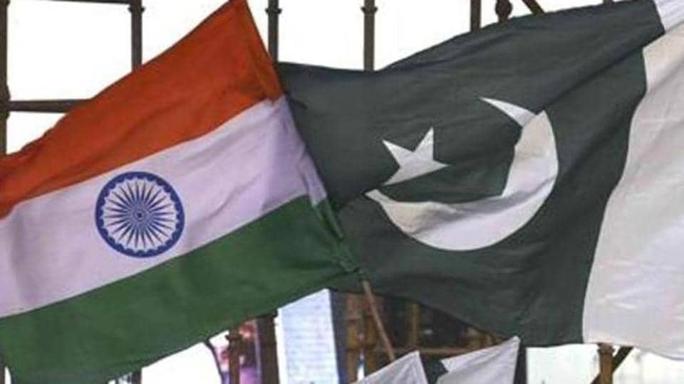 India -Pakistan flags seen during the a cultural event in New Delhi,  March 12, 2016.