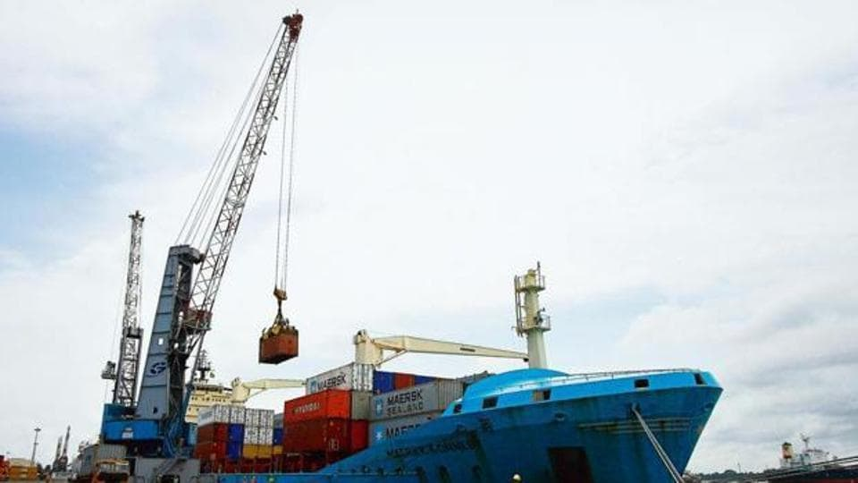 A ship unloading goods at a harbour