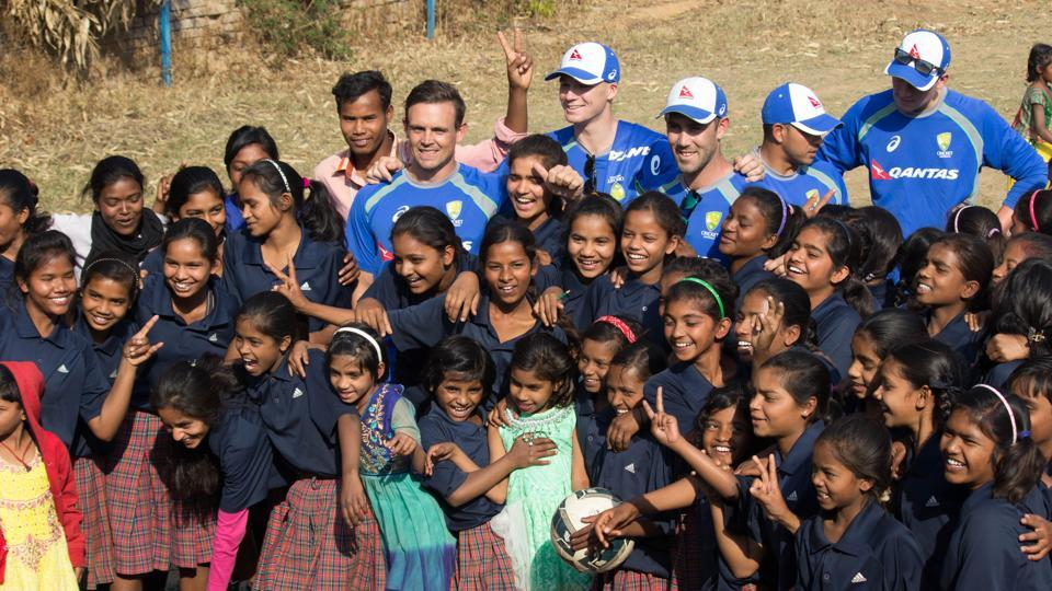 Australia cricket team visited a NGO for young girls in Ranchi.
