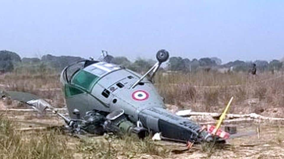 A Chetak helicopter of the Indian Air Force (IAF) toppled while making an emergency landing during a routine training sortie from Bamrauli airbase near Allahabad.