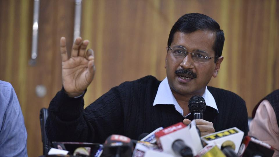Arvind Kejriwal addressing a press conference on EVM tampering issue in New Delhi on Wednesday.