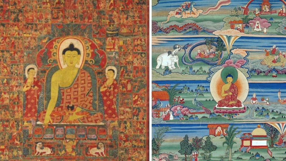 On left: Thangka of Buddha with the One Hundred Jataka Tales in the background, Tibet, 13th-14th century; Bhutanese painted thangka of the Jatakas, 18th-19th Century, Phajoding Gonpa, Thimphu, Bhutan