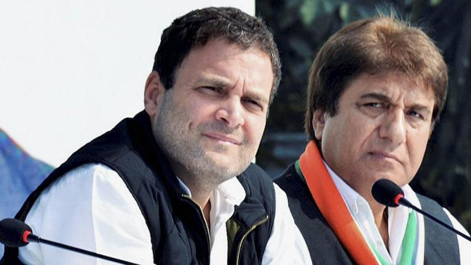 Uttar Pradesh Congress chief Raj Babbar (right), seen here with Congress vice-president Rahul Gandhi, has offered to resign taking moral responsibility for the poll debacle in the state.