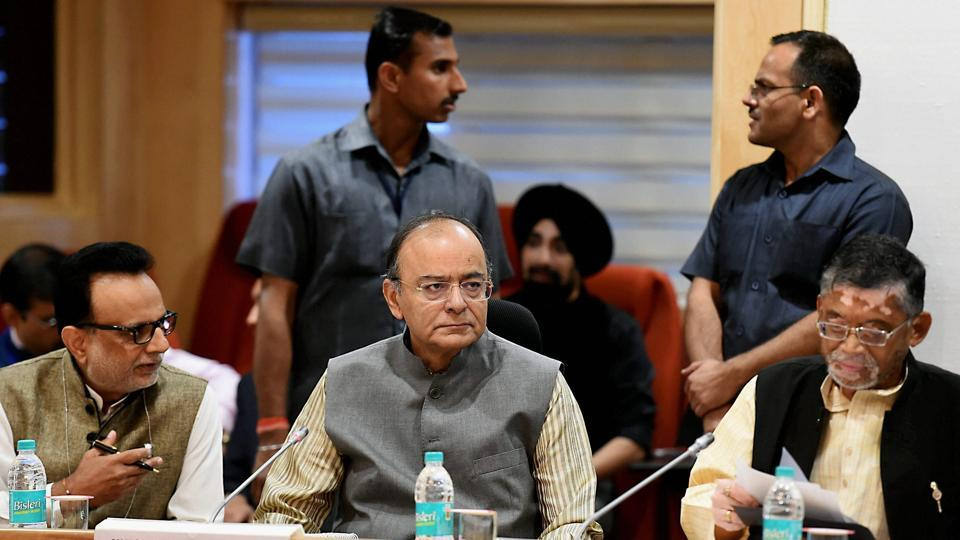 Finance minister Arun Jaitley with MoS for finance Santosh Gangwar at GST council meeting at Vigyan Bhawan in New Delhi.