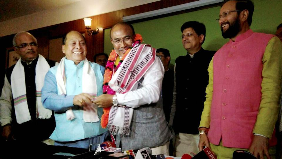 Nongthombam Biren Singh is greeted after he was elected at BJP legislature party leader in Imphal on Monday. Union Power minister and BJP observer Piyush Goyal and HRD minister Prakash Javadekar are also seen.