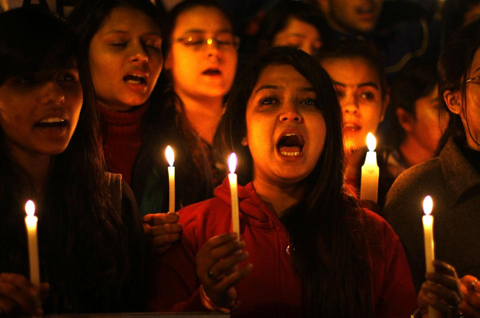 "New Delhi, India - Dec. 16, 2014: Akhil Bharatiya Vidyarthi Parishad (ABVP) students take part in a candle march on the occasion of 2nd anniversary of ""Nirbhaya Rape Case"" at Jantar Mantar in New Delhi, India, on Tuesday, December 16, 2014. (Photo by Ajay Aggarwal/ Hindustan Times)"