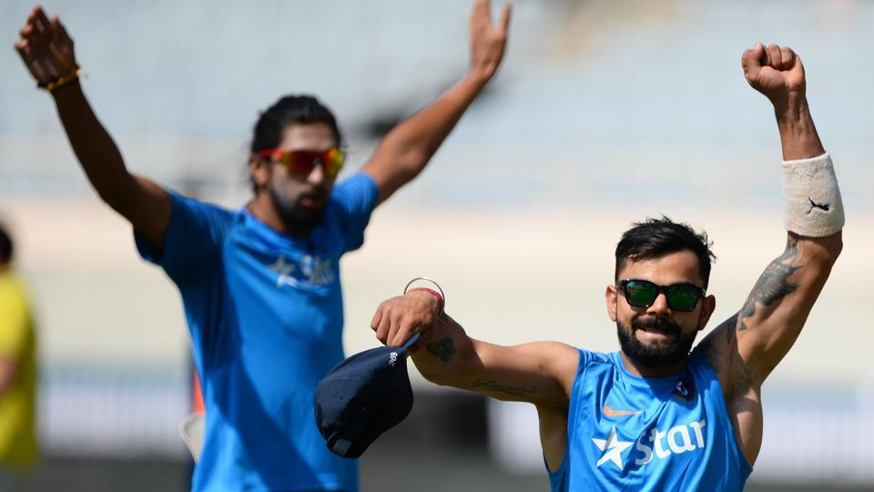 Virat Kohli gestures during a training session ahead of the third India vs Australia cricket Test at the Jharkhand State Cricket Association (JSCA) Stadium complex in Ranchi