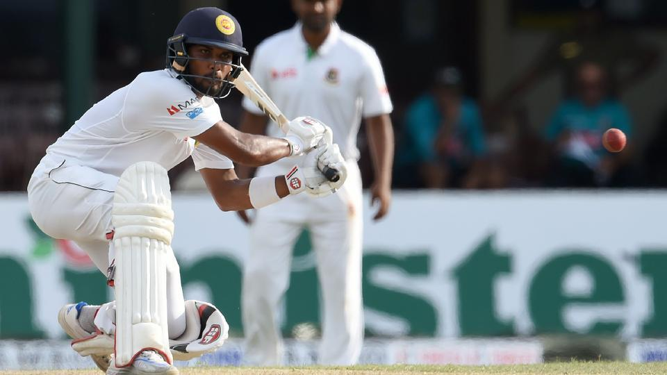 Sri Lanka cricket team's Dinesh Chandimal hits a boundary during Day 1 of the second and final Test against Bangladesh national cricket team at P. Sara Oval in Colombo on Wednesday.
