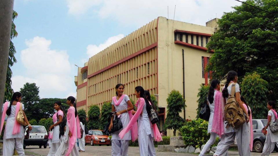 Girl students coming out of Nilmala College Doranda in Ranchi