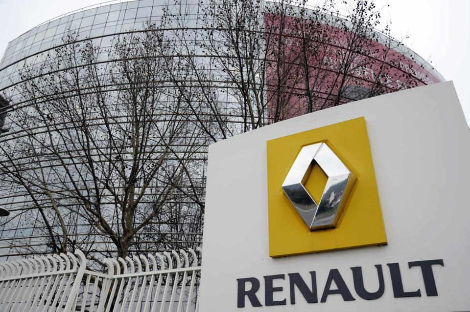 At French car maker Renault headquarters in Boulogne-Billancourt, west of Paris. French car-maker Renault is suspected of installing a device to cheat emmsission tests.