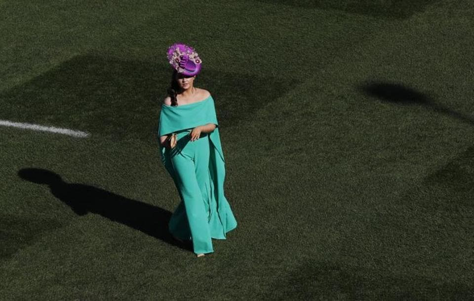Jennifer Wrynne, 27 from Leitrim in Ireland, arrives at Ladies Day of the 2017 Cheltenham Festival at Cheltenham Racecourse.  (Stefan Wermuth  / REUTERS)