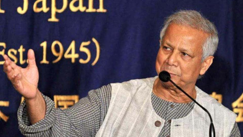 Nobel Peace Prize winner Mohammad Yunus speaks to the press in Tokyo.