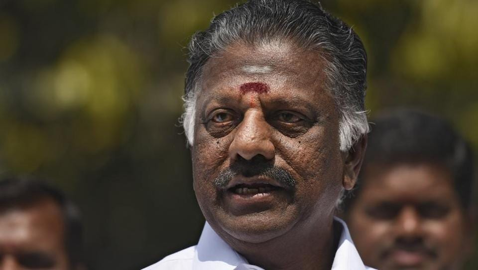 Former Tamil Nadu CM O Panneerselvam during the press conference in New Delhi.