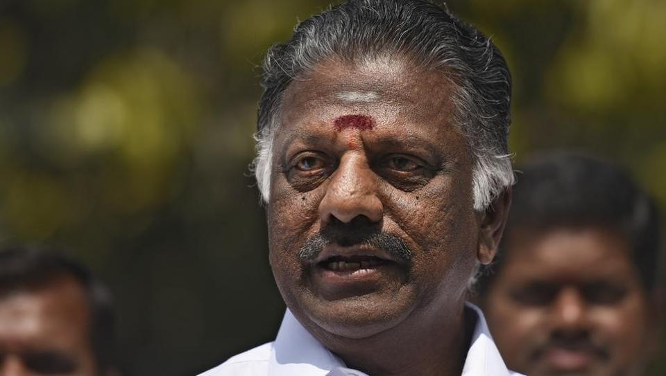 Former Tamil Nadu CM OPanneerselvam during the press conference in New Delhi.
