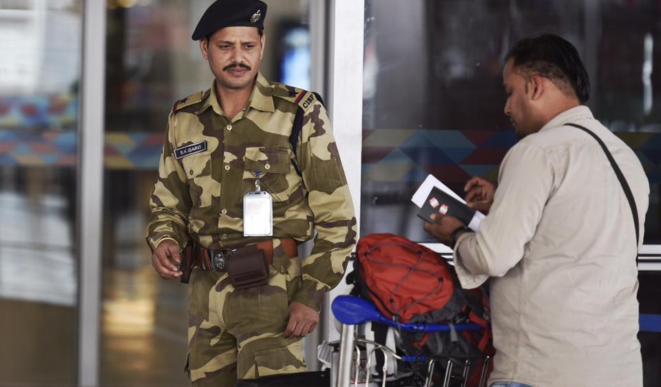 CISF personnel at the entry gate at IGI Airport. Passengers are rarely frisked at the terminal entry gates. The personnel check tickets and ID proof only.